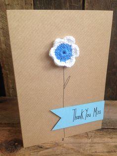Crochet daisy. Thank you teacher card. Blank inside for your own message. on Etsy, £2.25