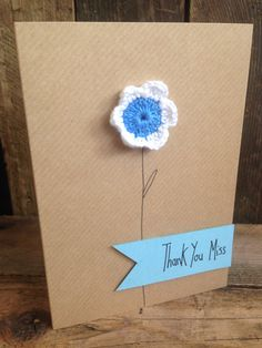 Crochet daisy. Thank you teacher card. Blank inside for your own message. on Etsy, £2.25
