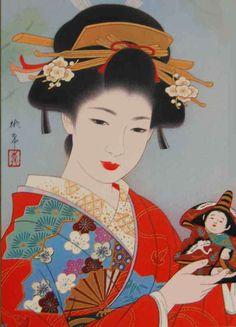 "Imagen típica de Ukiyo-e ""mundo flotante"" Grabado japonés típico del siglo XVIII"