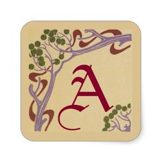 Capital Letter A Art Nouveau Stickers by Janz