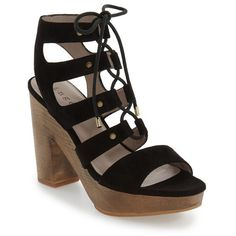 """Hinge 'Skylar' Lace-Up Sandal, 4 1/2"""" heel (3,500 THB) ❤ liked on Polyvore featuring shoes, sandals, black suede, block heel sandals, black lace up sandals, suede sandals, black sandals and black strappy sandals"""
