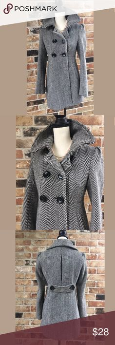 GUESS Coat Small Black And White Such a adorable fully lined coat. This coat has long and. Buttons in the front and the back. Guess Jackets & Coats Pea Coats