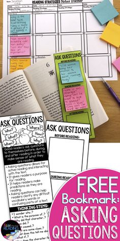 This free asking questions reading comprehension activity is a printable reading bookmark for students to ask questions before, during, and after reading.  The front side has a mini asking questions reading anchor chart or asking questions poster that guides students in generating questions while reading   Reading Comprehension Strategies Free Printable 2nd 3rd 4th 5th grade   Reading Strategies Bookmark   Free Reading Bookmark   Free Reading Bookmark for Students   Asking Questions…