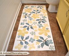 Bathroom Makeover Day Floral Hand Painted Floor Cloth - Addicted 2 Decorating® Bathroom Makeover Day Floral Hand Painted Floor Cloth Decking of the house is the most remarkable interior architect. Painted Floor Cloths, Painted Rug, Painted Floors, Hand Painted, Wood Plank Ceiling, Wood Planks, Wooden Ceilings, Wood Cladding, Diy Bathroom Remodel