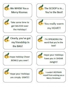 Clever, printable Gift Tags to tie onto Pampered Chef gifts