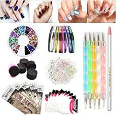 Nail Art Set Tape Line Nail Stickers Colored Rhinestones Decoration 45 Sheets Nail Art Stickers Gradient Nails Sponges for Color Fade Manicure Dotting Marbleizing Pen for Pedicure >>> Visit the image link more details. Nail Art At Home, Nail Art Set, Easy Nail Art, Easy Nails, Essie, Gradient Nails, Stiletto Nails, Coffin Nails, Nail Art Supplies