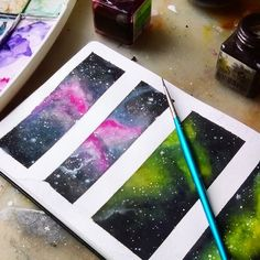 Some little galaxies studies in my moleskine. Made them with watercolor and ecoline.