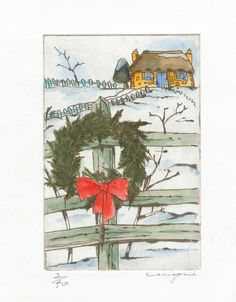 Farm Christmas  by mie takase  / etching & water color
