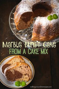 Marble Bundt Cake from a Cake Mix from Walking on Sunshine Recipes. A delicious and easy cake recipe to make for you school parties or family functions.