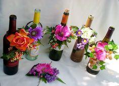 Tropical  Wedding Reception Wine Bottle Centerpieces. $10.95, via Etsy.