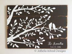 Custom Romantic Birds in Tree Rustic Wood Painting w/Names