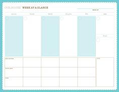 Weekly Calendar - Free PDF Printable