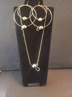 Double Hoop Tahitian Pearl Earring and Tahitian by AumoanaDesigns, $150.00