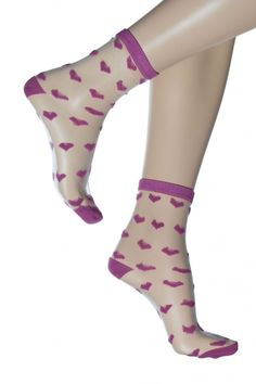 c89370c6c Gipsy Transparent Sheer Pink Heart Ankle Socks 1711