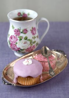 Tea & Cupcakes with Pretty Colored Sugar..Yummy Tea Time!
