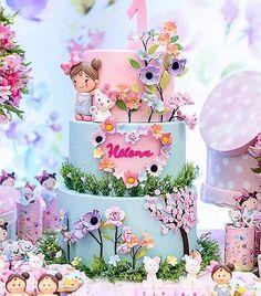 Esplêndido esse bolo com o tema Jardim! Baby Birthday Cakes, Birthday Parties, Fairy Birthday Cake, Baby Girl Cakes, Fairy Cakes, Cute Cakes, Themed Cakes, Beautiful Cakes, Cupcake Cakes