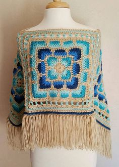 Poncho Boho Gypsy Hippie Retro 70s Free Shipping Ready by MarieX3