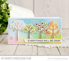 Modern Trees Stamp Set and Die-namics, Slanted Sentiment Strips Die-namics, All Smiles Stamp Set - Anna Kossakovskaya #mftstamps