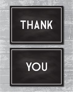 "INSTANT DOWNLOAD - Deco Chalkboard Thank You Signs 5x7"" DIY Wedding Posters Printable... Black on Etsy, $13.26"