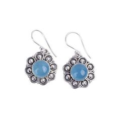 NOVICA Chalcedony and Sterling Silver Dangle Earrings from India ($56) ❤ liked on Polyvore featuring jewelry, earrings, clothing & accessories, dangle, silver tone, sterling silver jewellery, sterling silver long earrings, silvertone earrings, clear crystal earrings and novica earrings