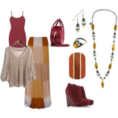 fall color maxi skirt, maroon, tan, yellow, beige mixed with crochet. Mialisia Ambititious necklace, Mialisia Optimistic ring, Mialisia Charming earrings http://carolyn.mialisia.com, and Jamberry Cinnamon Spice Nails http://woodburn.jamberrynails.net