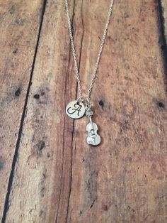 Violin initial necklace violin charm silver violin by kimsjewelry