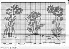 Crochet Curtains, Crochet Doilies, Crochet Flowers, Filet Crochet Charts, Knitting Charts, Cross Stitch Flowers, Cross Stitch Patterns, Fillet Crochet, Crochet Blouse