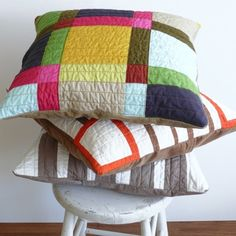 modern quilted pillows