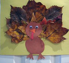 Fun idea for kids. Take them outside to help clean up and/or play in the leaves. Tell them to find special leaves that a turkey would be proud of... come inside and make a TURKEY.