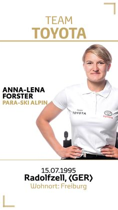 Team Toyota Deutschland: Anna-Lena Forster.  Disziplin/Sportart: Para-Ski Alpin. #teamtoyota #teamtoyota_de #sport #olympics #paralympics #nichtsistunmöglich #roadtotokio Team Toyota, Anna, Skiing, Mens Tops, Olympic Games, Proud Of You, Germany, Ski