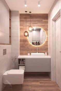 Glamorous and exciting luxury bathroom interior decor needs the perfect lighting. - Glamorous and exciting luxury bathroom interior decor needs the perfect lighting fixture. Contemporary Bathroom Designs, Bathroom Design Luxury, Modern Bathroom Design, Small Bathroom Interior, Luxury Bathrooms, Contemporary Bathroom Lighting, Dream Bathrooms, Luxury Kitchens, Kitchen Interior