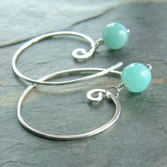 Cyber Monday Etsy Amazonite Earrings Sterling Silver Open Hoops Blue Amazonite eco frienldly holiday fashion, November Rain