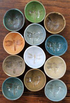 Prep Bowls Set - Handmade Small Ceramic Bowls - Dragonfly Ring Dish - Textured Stoneware Bowls - handcrafted Ceramic bowls - Dip Bowl -