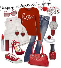 """Valentines Day Outfit"" Such a fun outfit for date night ~ Wear the converse and make it a casual outfit or you can wear the diamond heels to make it a dressier outfit! Created by christine-stillwell-cardall on Polyvore"