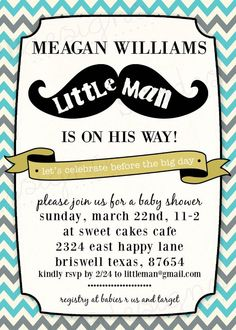 Baby Shower Invitation  Little Man by sweetpeababy on Etsy, $16.00