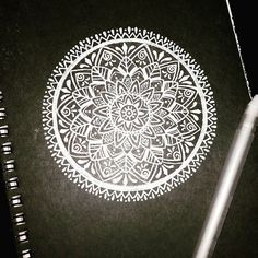 White mandala on black paper | Tattoo Idea for partial sleeve. :) :)