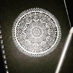 White mandala on black paper   Tattoo Idea for partial sleeve. :) :)