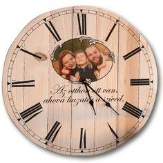 Fali óra | Rusztikus fa, egyedi, fényképes ajándék Fa, Decor, Decoration, Decorating, Deco