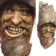 """""""Touch of Crazy"""" hand carved in a Pine knot by Josh Carte."""