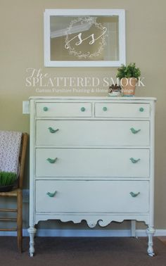 Antique White Dresser with Aqua Bird Knobs by TheSplatteredSmock White Distressed Dresser, Distressed Furniture, Custom Furniture, Painted Furniture, Home Bedroom, Girls Bedroom, Bedrooms, Real Milk Paint, General Finishes