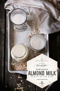 Fresh homemade almond milk lasts about three or four days in the fridge. Homemade almond milk is not at all difficult to make. Make Almond Milk, Almond Milk Recipes, Homemade Almond Milk, Honey Recipes, Vegan Recipes, Edible Seaweed, Nut Milk Bag, Plant Based Milk, Raw Almonds
