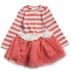 Watermelon Stripe LS Dress...Love the lace on the skirt!