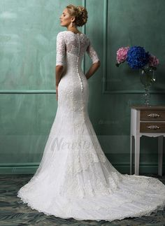 Trumpet/Mermaid V-neck Chapel Train Lace Covered Button Sleeves 3/4 Sleeves Church Hall Garden / Outdoor Reception General No Spring Summer Fall Ivory White Wedding Dress