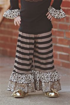 Owls & Bats - Knit Ruffle Pant in Taupe Black Stripe