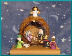 Nativity scene in a coconut
