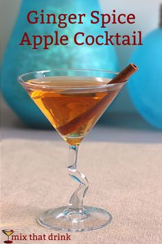 The Ginger Apple Spice Cocktail features spiced rum and ginger liqueur for the spice, with a touch of Malibu coconut rum. You can't really taste the coconut, but it adds something very special.