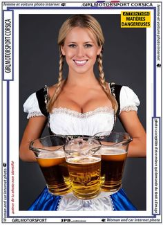 German barmaid in braids wearing dirndl and holding pitchers of beer. German Girls, German Women, Octoberfest Girls, Beer Girl, Gorgeous Women, Pin Up, Celebrity, Carnival, Sexy Women
