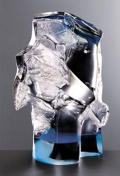 Czech Glass Art /// Jan Fišar - Object: Decision - Slumped glass block, partially cut and polished, glued lower part /// czech-glassart.com