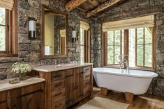 Breathtaking rustic mountain home in Big Sky: Ansel Haus Ansel Haus is a sensationally designed rustic mountain home by Miller Architects in collaboration with On Site Management, located in Big Sky, Montana. Rustic Vanity, Rustic Bathroom Vanities, Rustic Bathrooms, Luxury Bathrooms, Log Home Bathrooms, Stone Bathroom, Bathroom Ideas, Cheap Bathrooms, Amazing Bathrooms