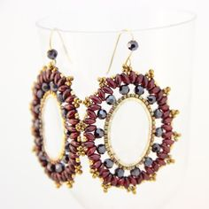 Beaded hoop earrings made with seed beads, crystal beads and super duo beads. Gold Filled Earring Ear Wire Hook silicon earring back are attached.